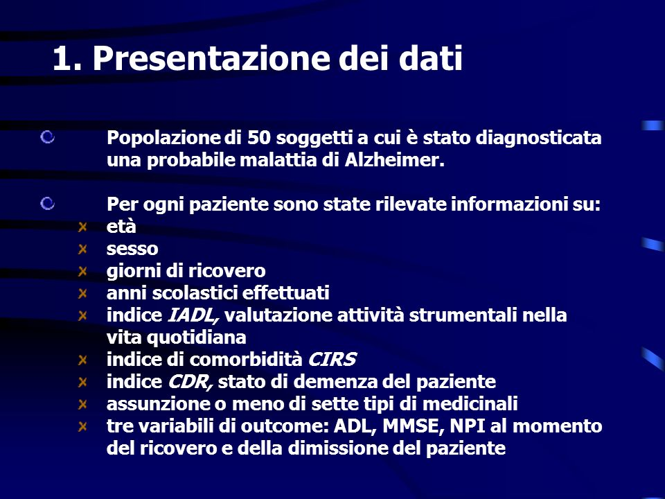 1. Presentazione dei dati