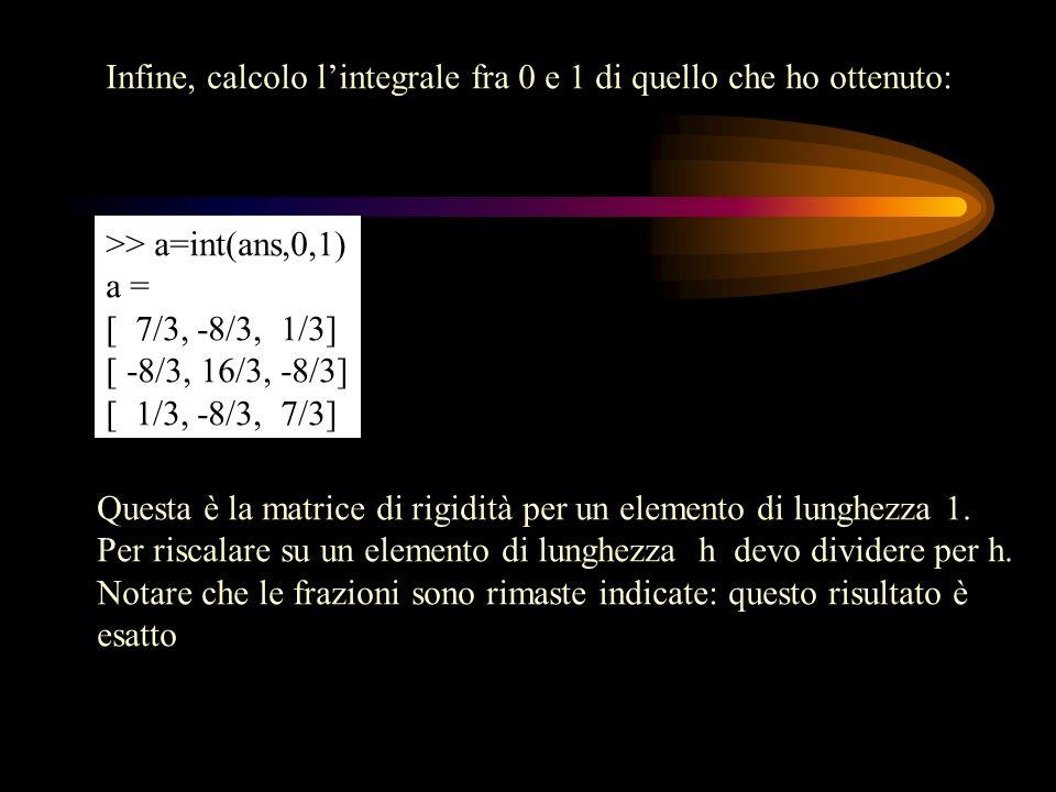 Infine, calcolo l'integrale fra 0 e 1 di quello che ho ottenuto: