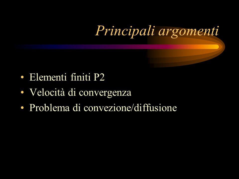 Principali argomenti Elementi finiti P2 Velocità di convergenza