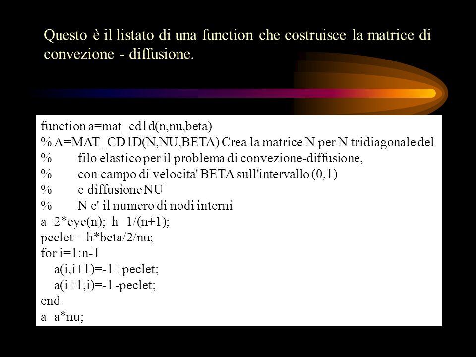 Questo è il listato di una function che costruisce la matrice di