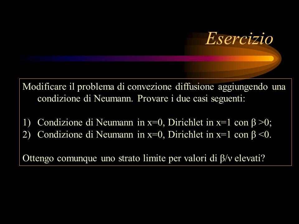 Esercizio Modificare il problema di convezione diffusione aggiungendo una condizione di Neumann. Provare i due casi seguenti:
