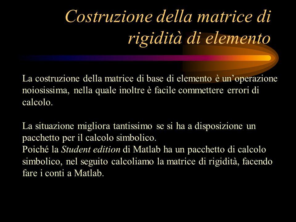 Costruzione della matrice di rigidità di elemento