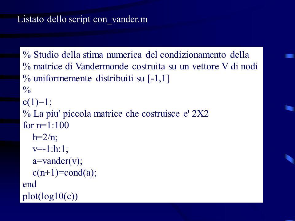Listato dello script con_vander.m
