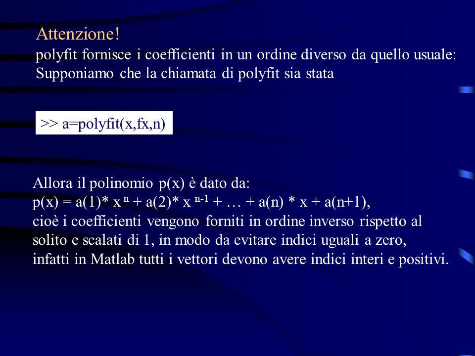 Attenzione! polyfit fornisce i coefficienti in un ordine diverso da quello usuale: Supponiamo che la chiamata di polyfit sia stata.