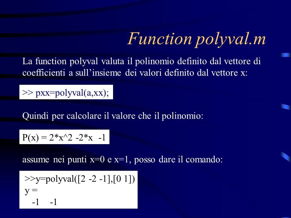 Function polyval.m La function polyval valuta il polinomio definito dal vettore di coefficienti a sull'insieme dei valori definito dal vettore x: