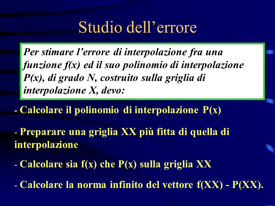 Studio dell'errore