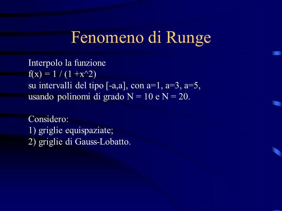 Fenomeno di Runge Interpolo la funzione f(x) = 1 / (1 +x^2)