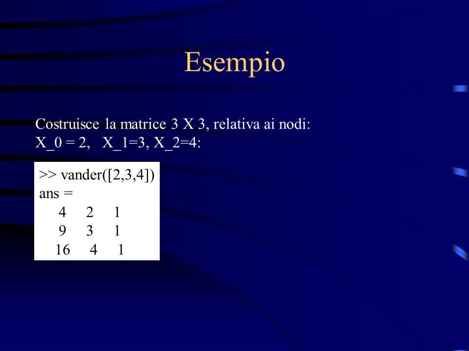 Esempio Costruisce la matrice 3 X 3, relativa ai nodi: