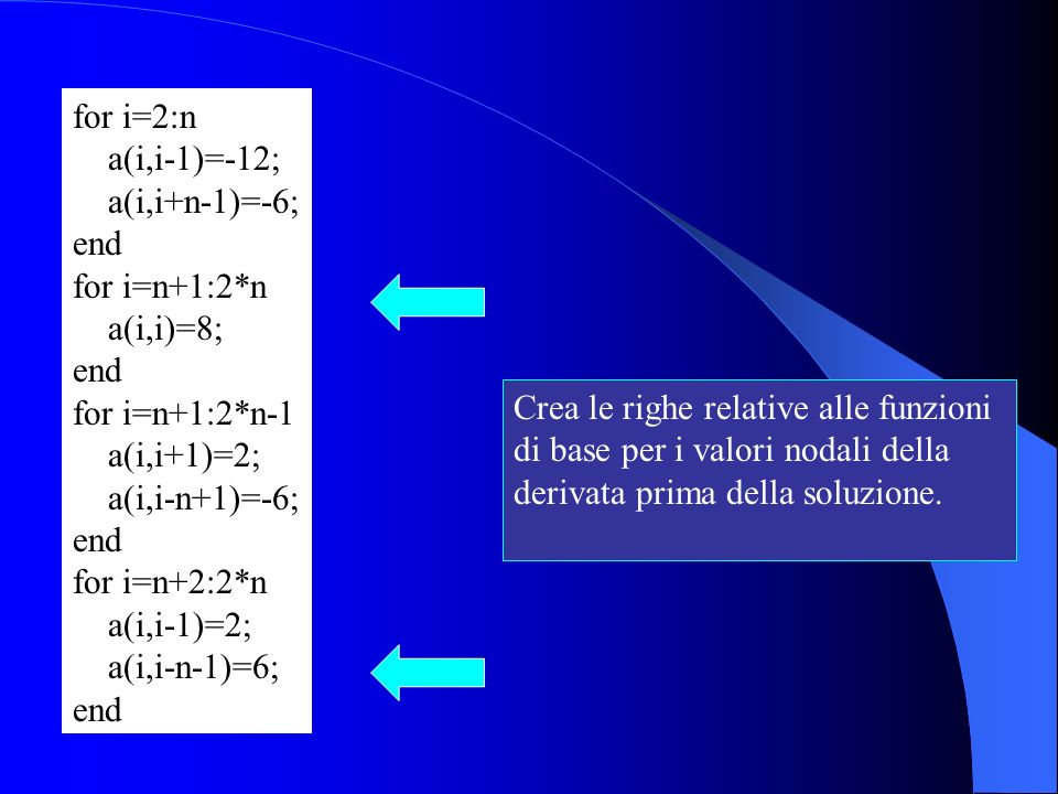 for i=2:n a(i,i-1)=-12; a(i,i+n-1)=-6; end. for i=n+1:2*n. a(i,i)=8; for i=n+1:2*n-1. a(i,i+1)=2;