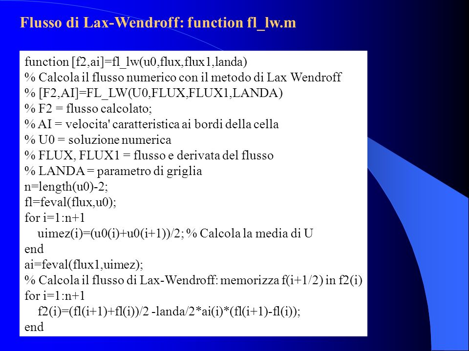 Flusso di Lax-Wendroff: function fl_lw.m