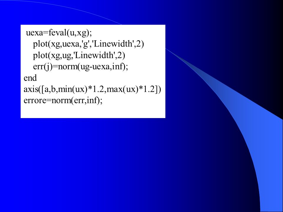 uexa=feval(u,xg); plot(xg,uexa, g , Linewidth ,2) plot(xg,ug, Linewidth ,2) err(j)=norm(ug-uexa,inf);