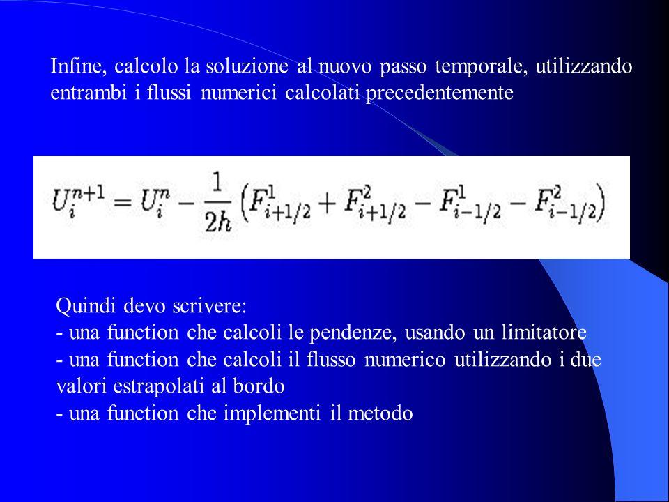 Infine, calcolo la soluzione al nuovo passo temporale, utilizzando entrambi i flussi numerici calcolati precedentemente