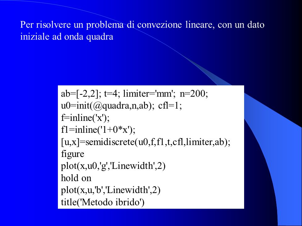 Per risolvere un problema di convezione lineare, con un dato iniziale ad onda quadra