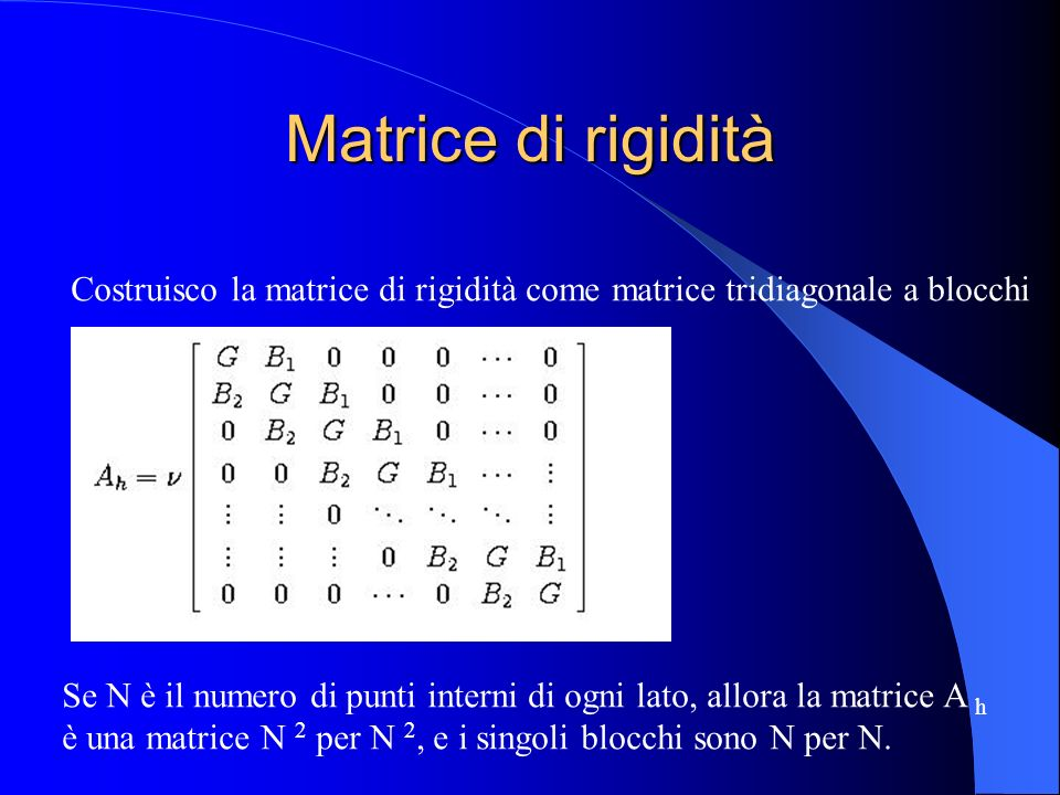 Matrice di rigidità Costruisco la matrice di rigidità come matrice tridiagonale a blocchi.