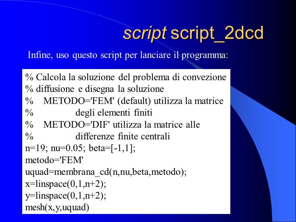 script script_2dcd Infine, uso questo script per lanciare il programma: % Calcola la soluzione del problema di convezione.