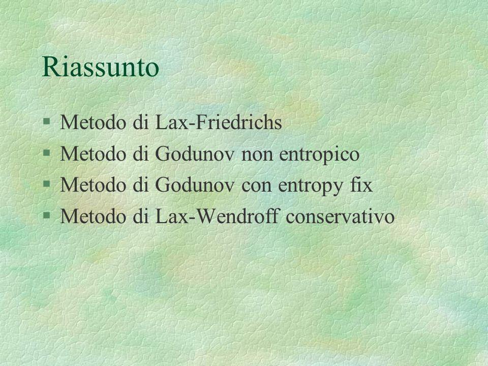 Riassunto Metodo di Lax-Friedrichs Metodo di Godunov non entropico