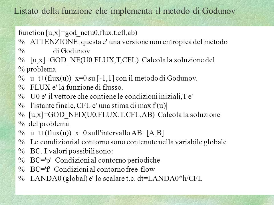 Listato della funzione che implementa il metodo di Godunov
