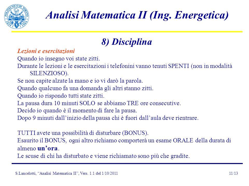 8) Disciplina Lezioni e esercitazioni