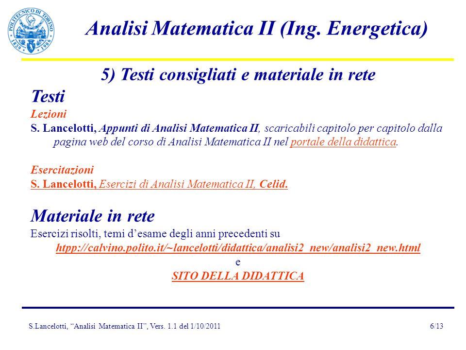 5) Testi consigliati e materiale in rete