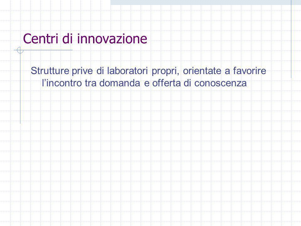 Centri di innovazione Strutture prive di laboratori propri, orientate a favorire l'incontro tra domanda e offerta di conoscenza.