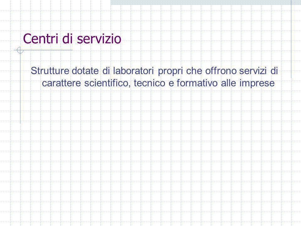 Centri di servizio Strutture dotate di laboratori propri che offrono servizi di carattere scientifico, tecnico e formativo alle imprese.