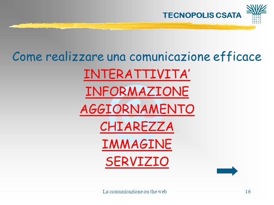 Come realizzare una comunicazione efficace INTERATTIVITA' INFORMAZIONE