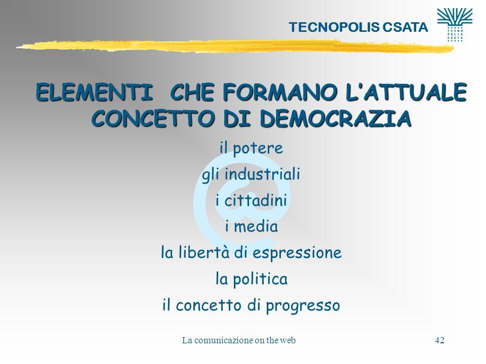 ELEMENTI CHE FORMANO L'ATTUALE CONCETTO DI DEMOCRAZIA