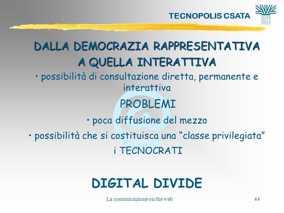 DIGITAL DIVIDE DALLA DEMOCRAZIA RAPPRESENTATIVA A QUELLA INTERATTIVA
