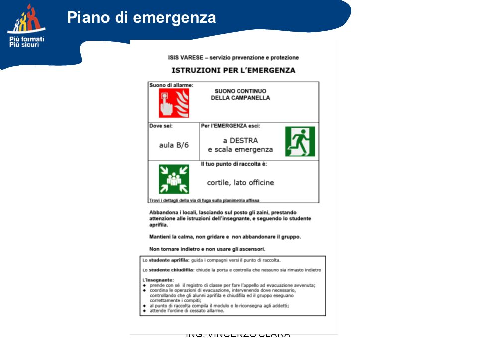 Piano di emergenza ING. VINCENZO CLARA 49
