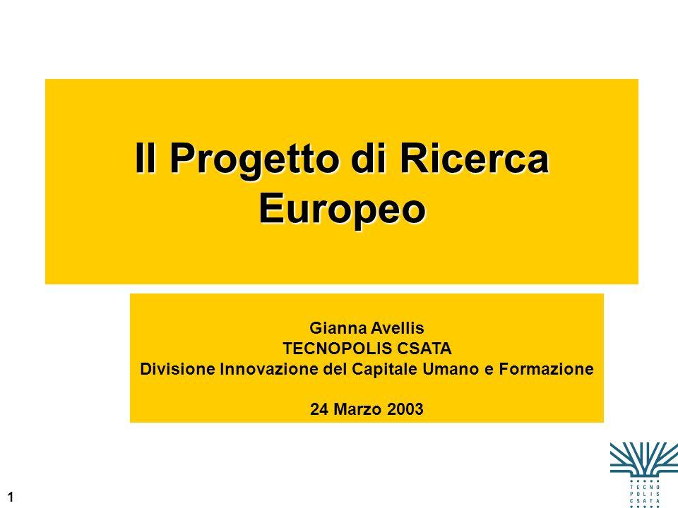 Il Progetto di Ricerca Europeo