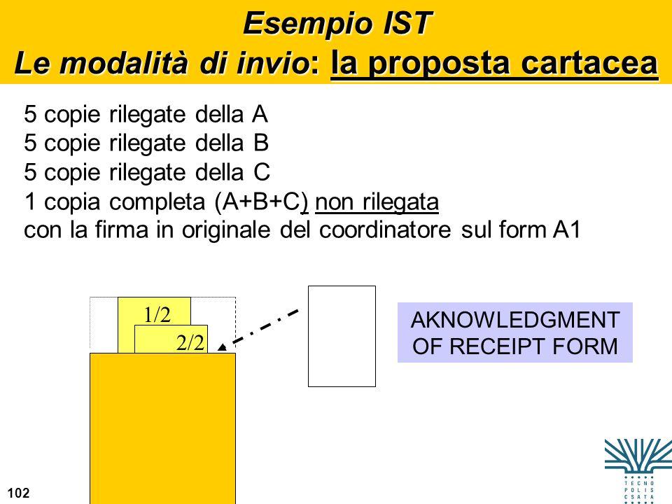 Esempio IST Le modalità di invio: la proposta cartacea
