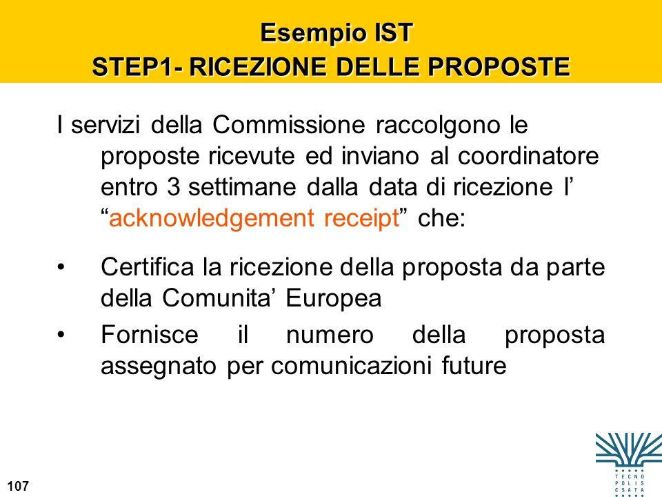 Esempio IST STEP1- RICEZIONE DELLE PROPOSTE