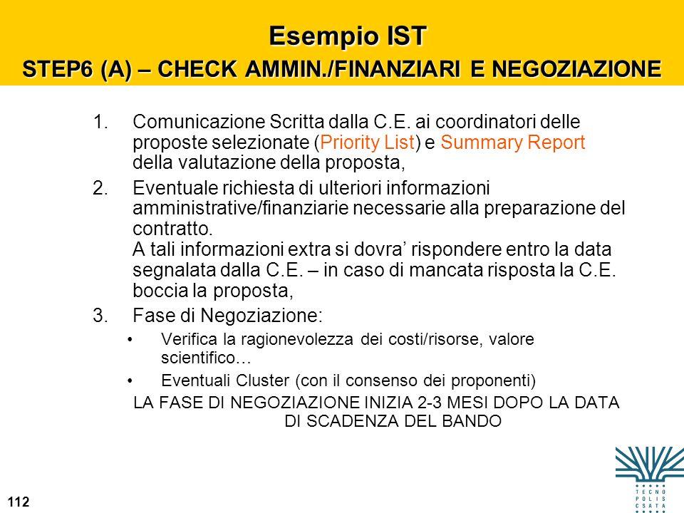 Esempio IST STEP6 (A) – CHECK AMMIN./FINANZIARI E NEGOZIAZIONE