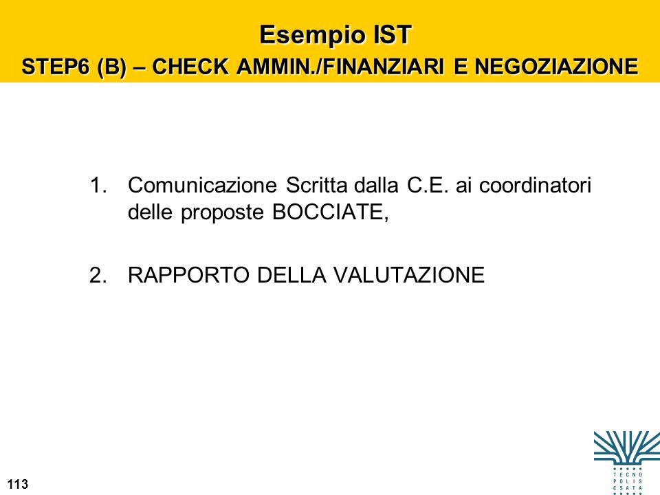 Esempio IST STEP6 (B) – CHECK AMMIN./FINANZIARI E NEGOZIAZIONE