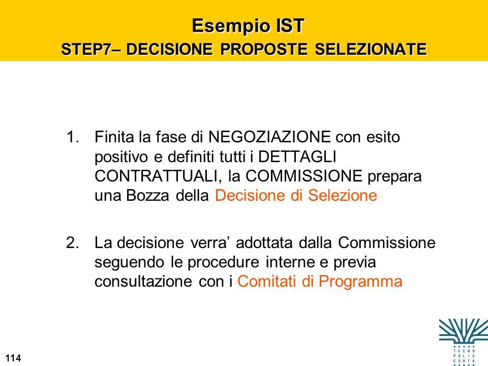 Esempio IST STEP7– DECISIONE PROPOSTE SELEZIONATE