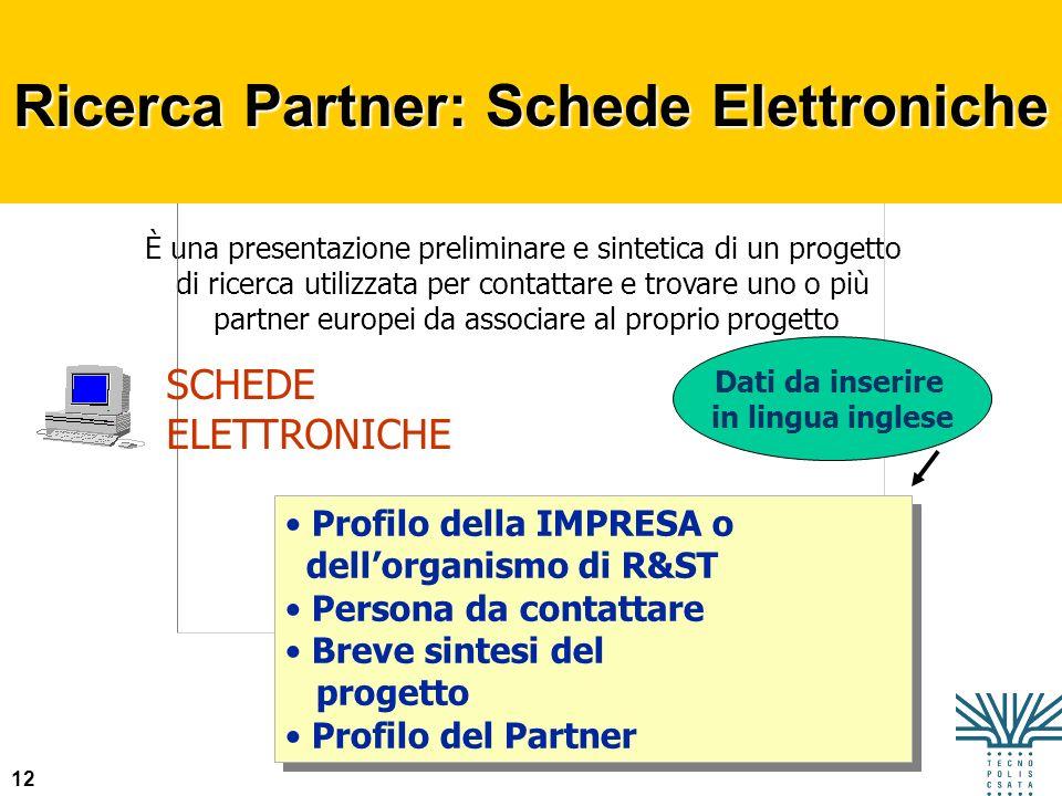Ricerca Partner: Schede Elettroniche