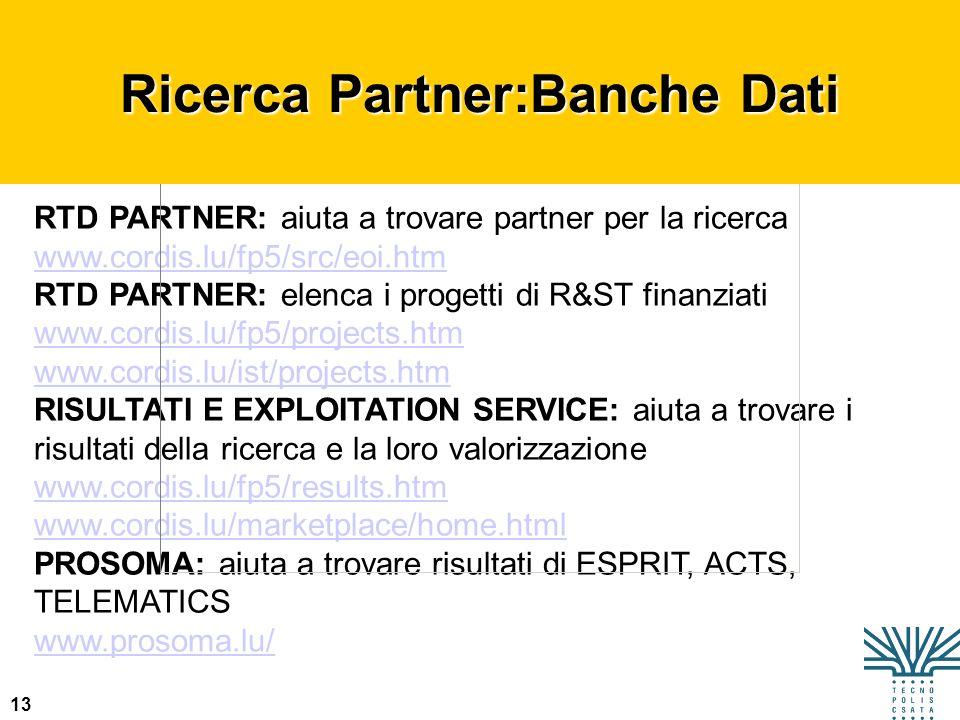 Ricerca Partner:Banche Dati