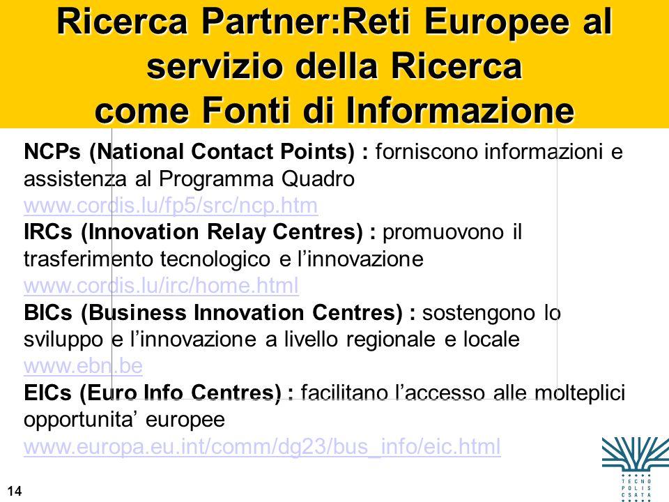 Ricerca Partner:Reti Europee al servizio della Ricerca come Fonti di Informazione