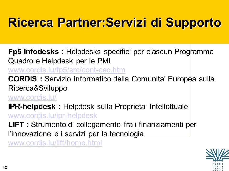 Ricerca Partner:Servizi di Supporto