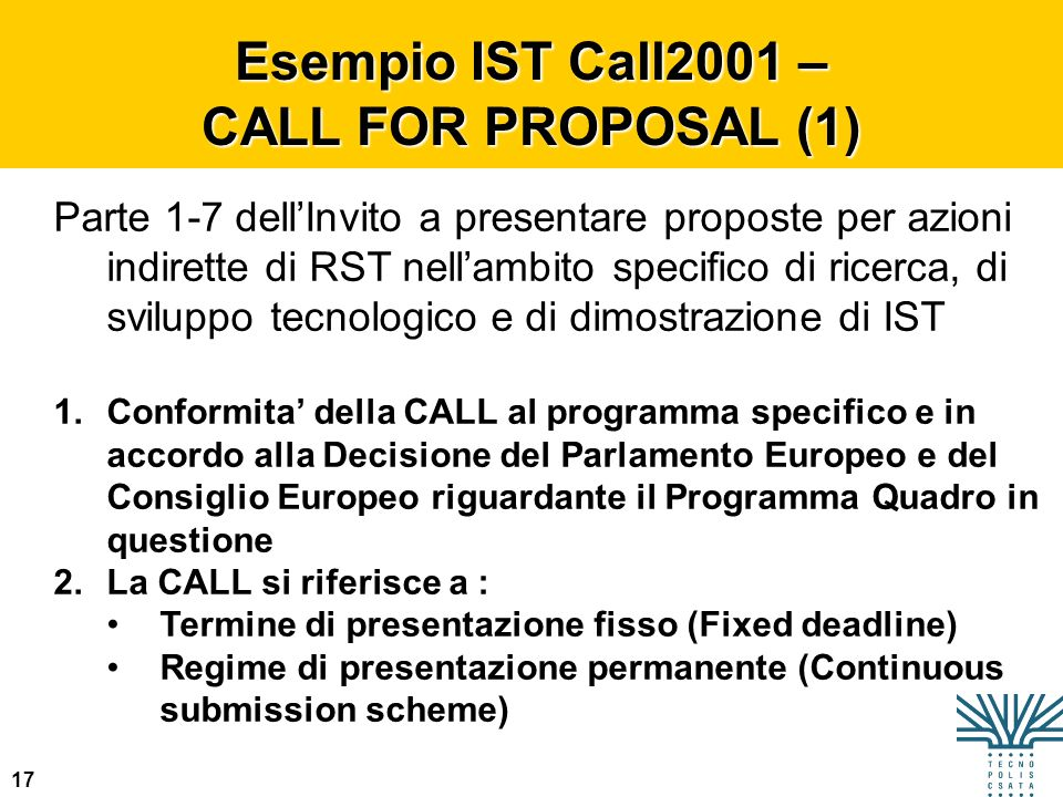 Esempio IST Call2001 – CALL FOR PROPOSAL (1)