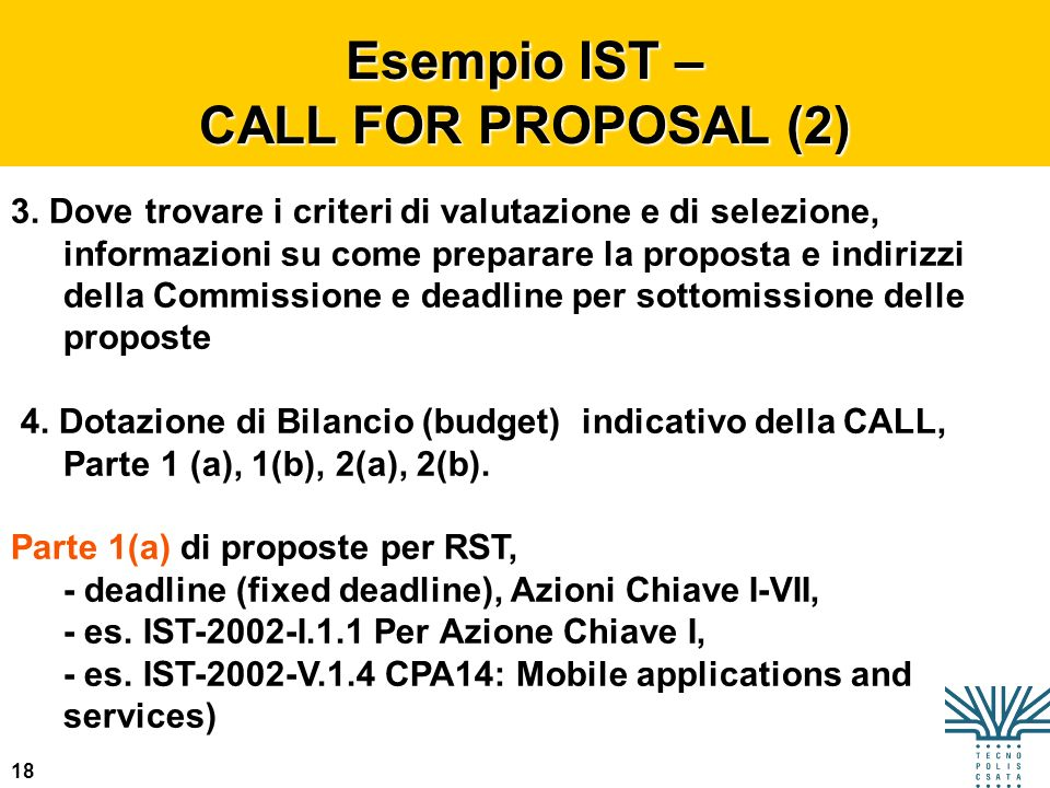 Esempio IST – CALL FOR PROPOSAL (2)