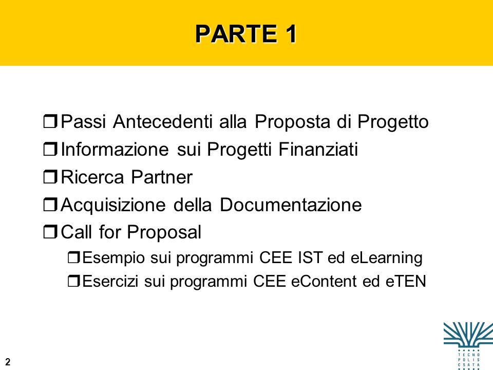 PARTE 1 Passi Antecedenti alla Proposta di Progetto