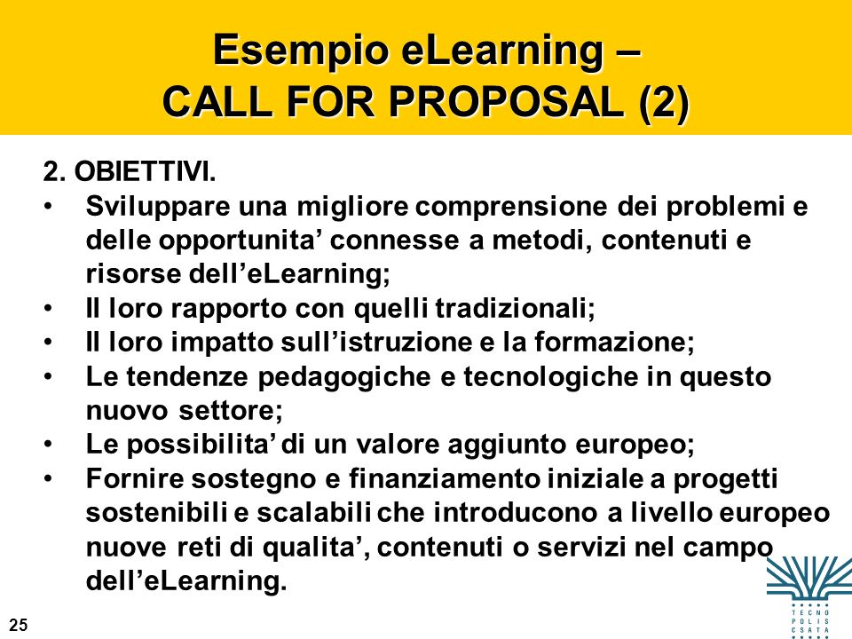 Esempio eLearning – CALL FOR PROPOSAL (2)