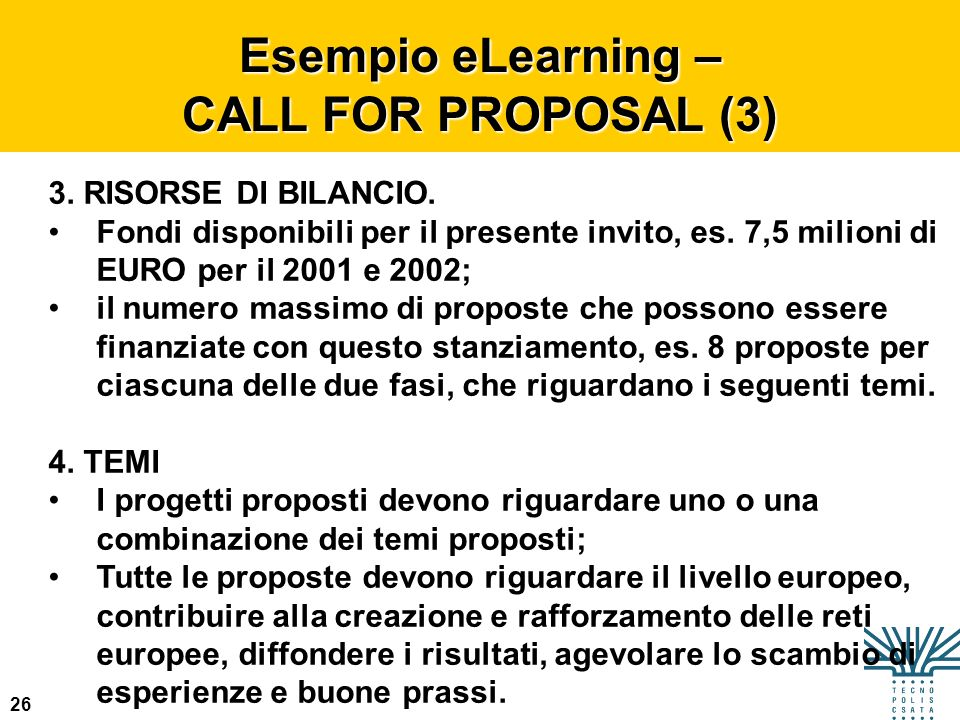 Esempio eLearning – CALL FOR PROPOSAL (3)
