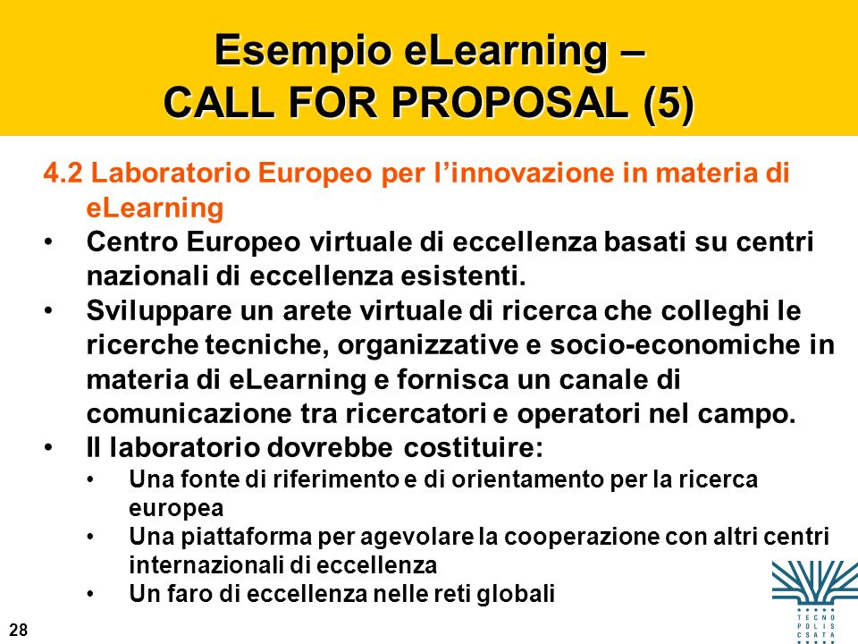 Esempio eLearning – CALL FOR PROPOSAL (5)
