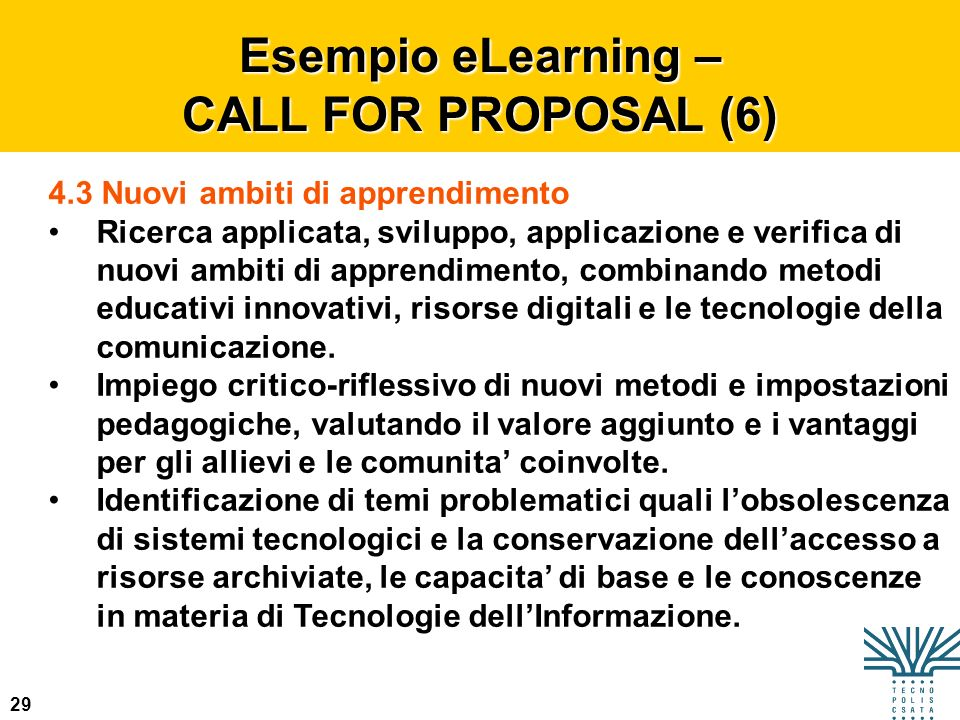 Esempio eLearning – CALL FOR PROPOSAL (6)