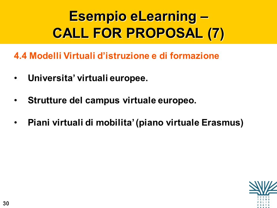 Esempio eLearning – CALL FOR PROPOSAL (7)