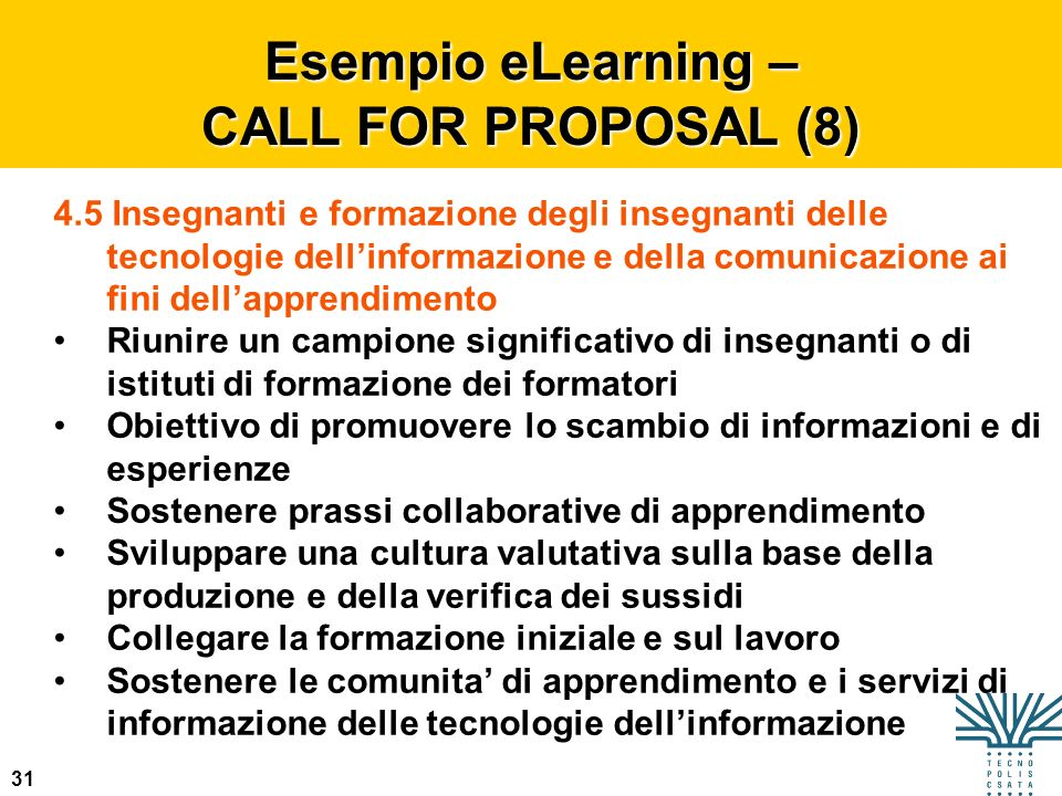 Esempio eLearning – CALL FOR PROPOSAL (8)