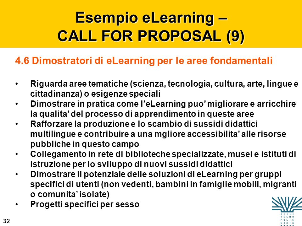 Esempio eLearning – CALL FOR PROPOSAL (9)