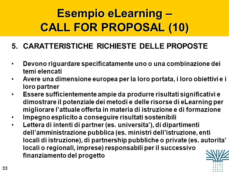 Esempio eLearning – CALL FOR PROPOSAL (10)